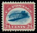 Stamps, (C3a) Airmail, 1918, 24¢ carmine rose & blue, center inverted...