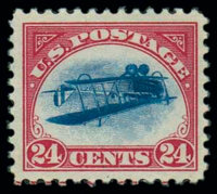 (C3a) Airmail, 1918, 24¢ carmine rose & blue, center inverted