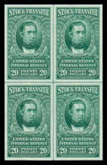 Stamps, (RD79-85 var.) 1940 Green Stock Transfers, $1-$20, unfinished imperforates...