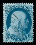 Stamps, 1857, 1¢ blue, type Ia (19), position 93R4, well centered with bright color and paper and a neat, face-free ...