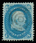 Stamps, (92) 1867, 1¢ blue, F. grill...