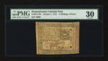 Colonial Notes:Pennsylvania, Pennsylvania October 1, 1773 2s 6d PMG Very Fine 30.. ...