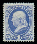 Stamps, (134) 1870, 1¢ ultramarine, grilled...