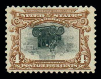 (296a) 1901, 4¢ Pan-American, center inverted