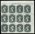 Stamps, (8c) 1860-63, 1¢ black, imperf vertically...
