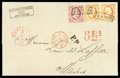 Stamps, Netherlands, 1852, 10c red and 15c orange pair...