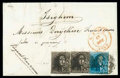 Stamps, Belgium, 1849, 10c deep brown and 20c blue plate II...