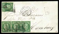 Stamps, France, 1850, 15c green on greenish...