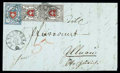 """Stamps, Switzerland, 1850, 2½rp black and red """"Poste Locale"""" with frame to cross vertical pair..."""