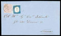 Stamps, Sardinia, 1853, 40c rose embossed on colored paper and 1857 20c greyish blue...