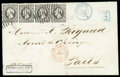 Stamps, Luxembourg, 1852, 10c black...