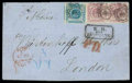 Stamps, Denmark, 1863, 16sk lilac pair roulette 11 with 1854-57, 2sk blue dotted spandrels...