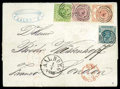 Stamps, Denmark, 1863 16sk lilac rouletted 11 with 1854-57 2sk blue and 8sk yellow green dotted spandrels and 1864 4sk vermilion Arms...