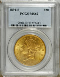 Liberty Double Eagles: , 1891-S $20 MS62 PCGS. PCGS Population (1359/655). NGC Census:(1446/421). Mintage: 1,288,125. Numismedia Wsl. Price: $750. ...