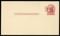 Stamps, (UX31) 1¢ Washington experimental surcharge on 2¢ Jefferson, Die II postal card...