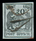 Stamps, (11X3) St. Louis, Mo., 1845, 20¢ black on greenish...