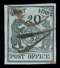 (11X3) St. Louis, Mo., 1845, 20¢ black on greenish