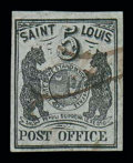 Stamps, (11X4) St. Louis, Mo., 1846, 5¢ black on gray lilac...