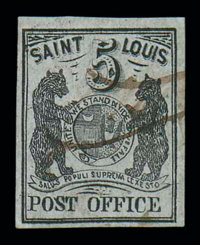 (11X4) St. Louis, Mo., 1846, 5¢ black on gray lilac