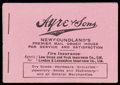"""Stamps, 1926, 40¢ booklet, black and pink cover with """"Ayre & Sons"""" advertisement..."""