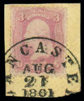 Stamps, (64a) 1861, 3¢ pigeon blood pink...