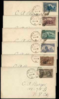 Stamps, (230-234, 237) 1¢-5¢, 10¢ Columbians...