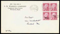 Stamps, (1033a) 1954, 2¢ Jefferson, experimental Silkote paper...