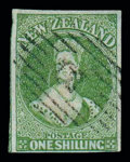 Stamps, 1/- yellow-green on blued paper...