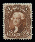 Stamps, (75) 1862, 5¢ red brown...