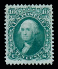 Stamps, (96) 1867, 10¢ yellow green, F. grill...