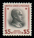 Stamps, (834a) 1938, $5 Presidential, red brown & black shade...