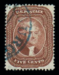 Stamps, (28) 1857, 5¢ red brown, type I...