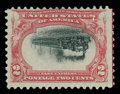 Stamps, (295a) 1901, 2¢ Pan-American, center inverted...