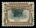 Stamps, (296a) 1901, 4¢ Pan-American, center inverted...