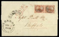 Stamps, (1) 1851, 3d red, laid paper...