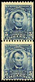Stamps, (317) 1908, 5¢ blue coil...