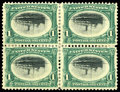 Stamps, (294a, 295a, 296a) 1901, 1¢, 2¢, 4¢ Pan American centers inverted...