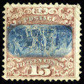 Stamps, (119b) 1869, 15¢ brown & blue, type II, center inverted...