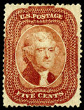 Stamps, (27) 1858, 5¢ brick red, type I...