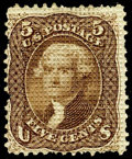 Stamps, (80E var.) 1867, 5¢ brown, A. grill essay, points down...