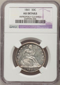 Seated Half Dollars: , 1841 50C --Improperly Cleaned--NGC Details. AU. NGC Census: (2/45).PCGS Population (6/44). Mintage: 310,000. Numismedia Wsl...
