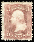 Stamps, (79) 1867, 3¢ rose, A. grill...