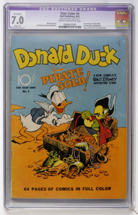 """Four Color #9 """"Donald Duck Finds Pirate Gold"""" Gold (Dell, 1942) CGC Apparent FN/VF 7.0 Slight (P) Cream to off..."""