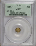 California Fractional Gold: , 1855/4 25C Liberty Octagonal 25 Cents, BG-106, R.3, MS63 PCGS. PCGSPopulation (40/41). NGC Census: (2/7). (#10375)...