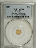 California Fractional Gold: , 1856 25C Liberty Octagonal 25 Cents, BG-107, Low R.4, MS64 PCGS.Ex: Stecher Collection. Purchased in the 1930's by Karl St...