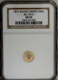 California Fractional Gold: , 1872 50C Liberty Round 50 Cents, BG-1013, Low R.6, AU55 NGC. NGCCensus: (1/2). PCGS Population (1/12). (#10842)...