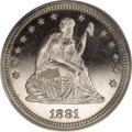 Proof Seated Quarters, 1881 25C PR66 Cameo PCGS....