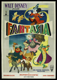 "Fantasia (RKO, R-1950s). Italian 4 - Folio (55"" X 78""). Animated"