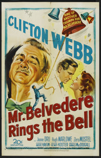 "Mr. Belvedere Rings the Bell (20th Century-Fox, 1951). One Sheet (27"" X 41""). Comedy. Starring Clifton Webb, J..."