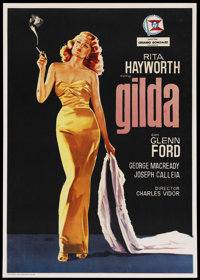 "Gilda (Columbia, R-1966). Spanish One Sheet (28"" X 39""). Film Noir"